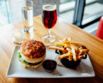 Cheeseburger, French Fries, and Beer from Urban Farmer in The Logan Philadelphia hotel.