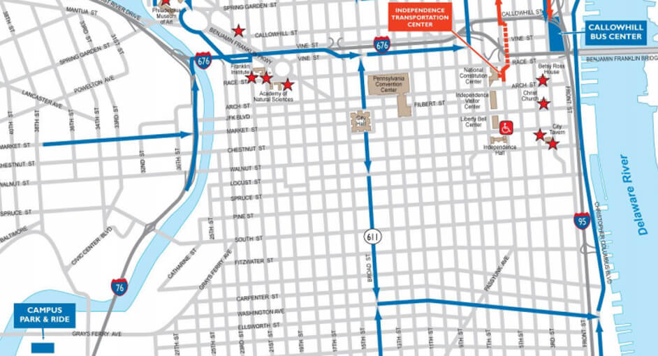 Bus Parking discoverPHL – Tourist Map of Philadelphia