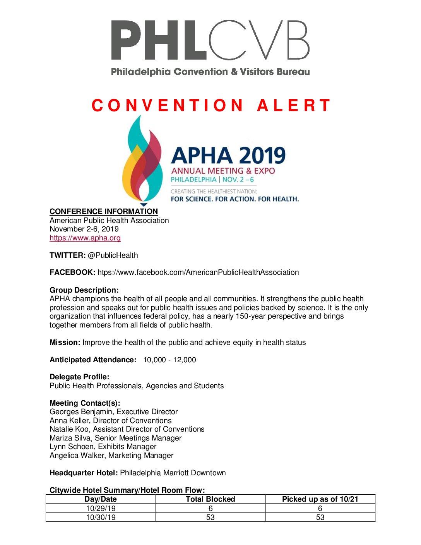 American Public Health convention alert