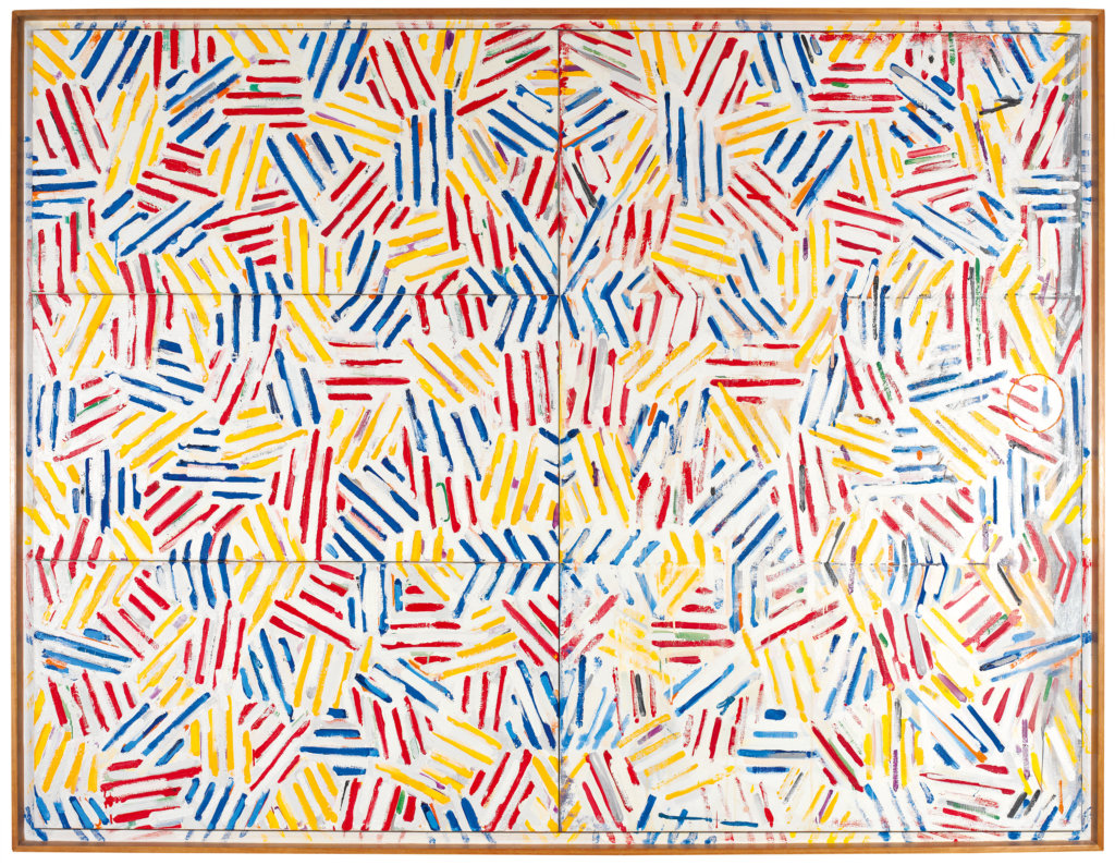 Corpse and Mirror II, 1974-75, by Jasper Johns. Oil and sand on canvas (4 panels), Philadelphia Museum of Art